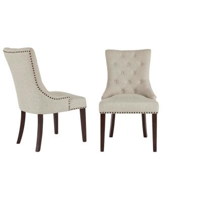 Bardell Upholstered Tufted Dining Chair with Biscuit Beige Seat and Nailheads (Set of 2) (22 in. W x 38 in. H)