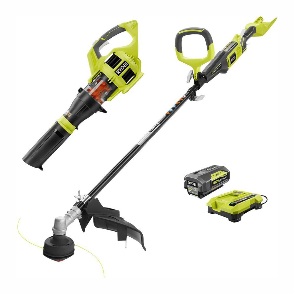 RYOBI Gas-Like Power 40-Volt Lithium-Ion Cordless Jet Fan Blower/Trimmer Combo Kit, 3.0 Ah Battery and Charger Included