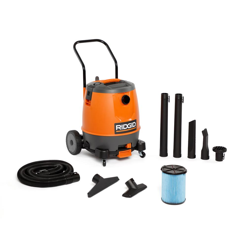 RIDGID RIDGID 16 Gal. 6.5-Peak HP Motor-On-Bottom Wet/Dry Shop Vacuum with Fine Dust Filter, Hose and Accessories, Oranges/Peaches