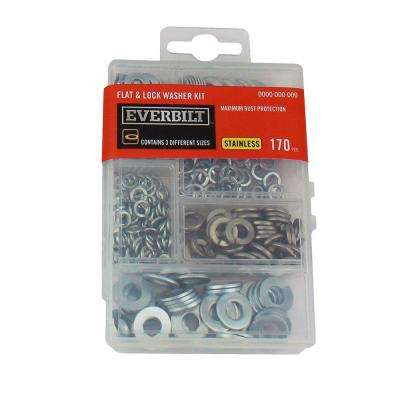 Stainless Steel Flat and Lock Washer Kit (170-Piece)