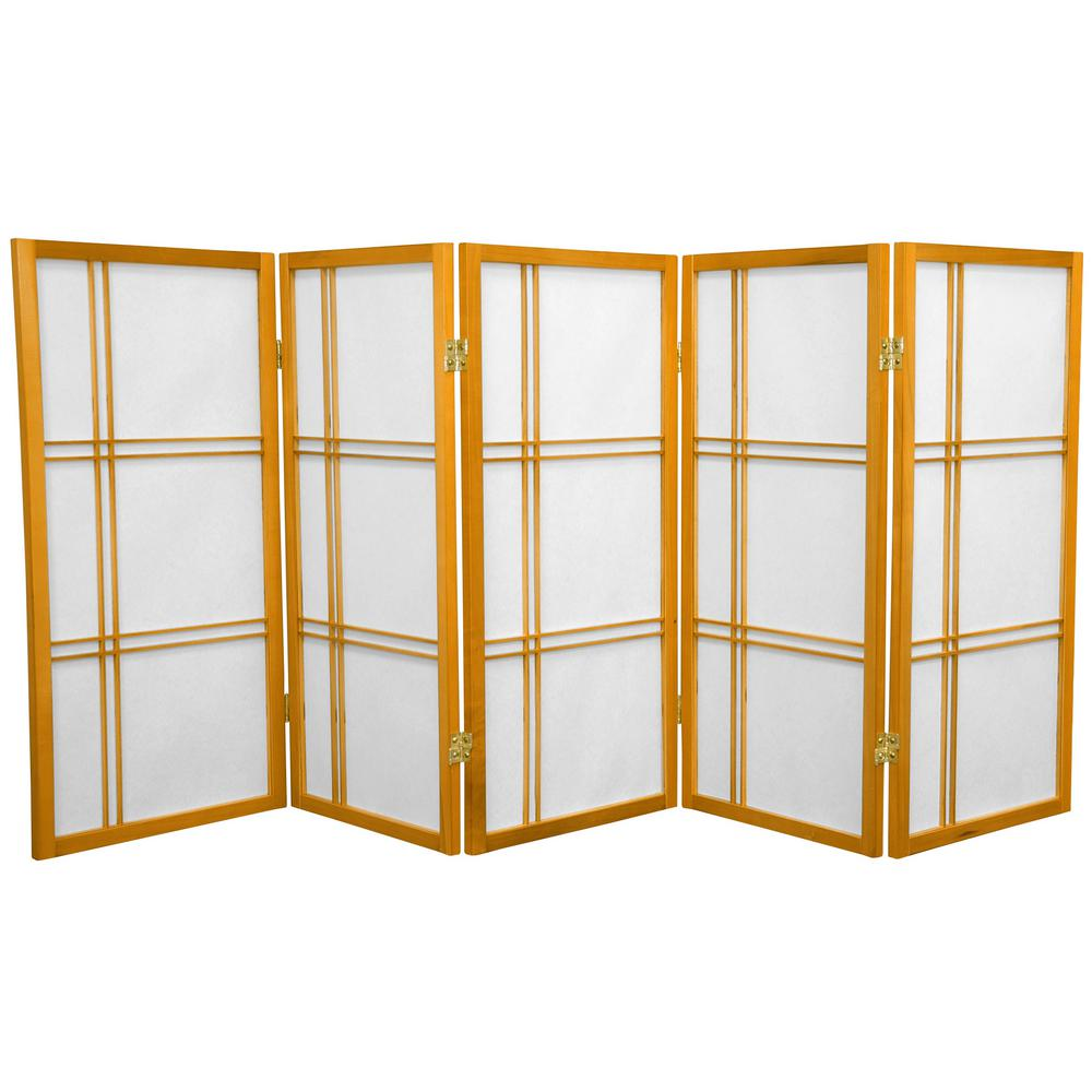 3 ft. Honey 5-Panel Room Divider