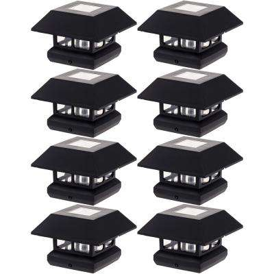 4 in. x 4 in. Solar Powered Integrated LED Black Post Cap Light for Nominal Wood Posts (8-Pack)