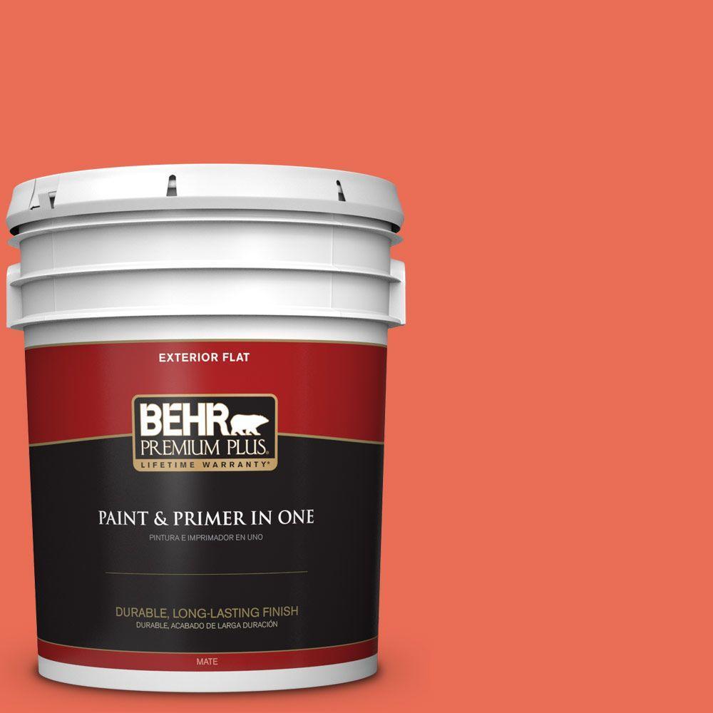 BEHR Premium Plus 5-gal. #190B-6 Wet Coral Flat Exterior Paint