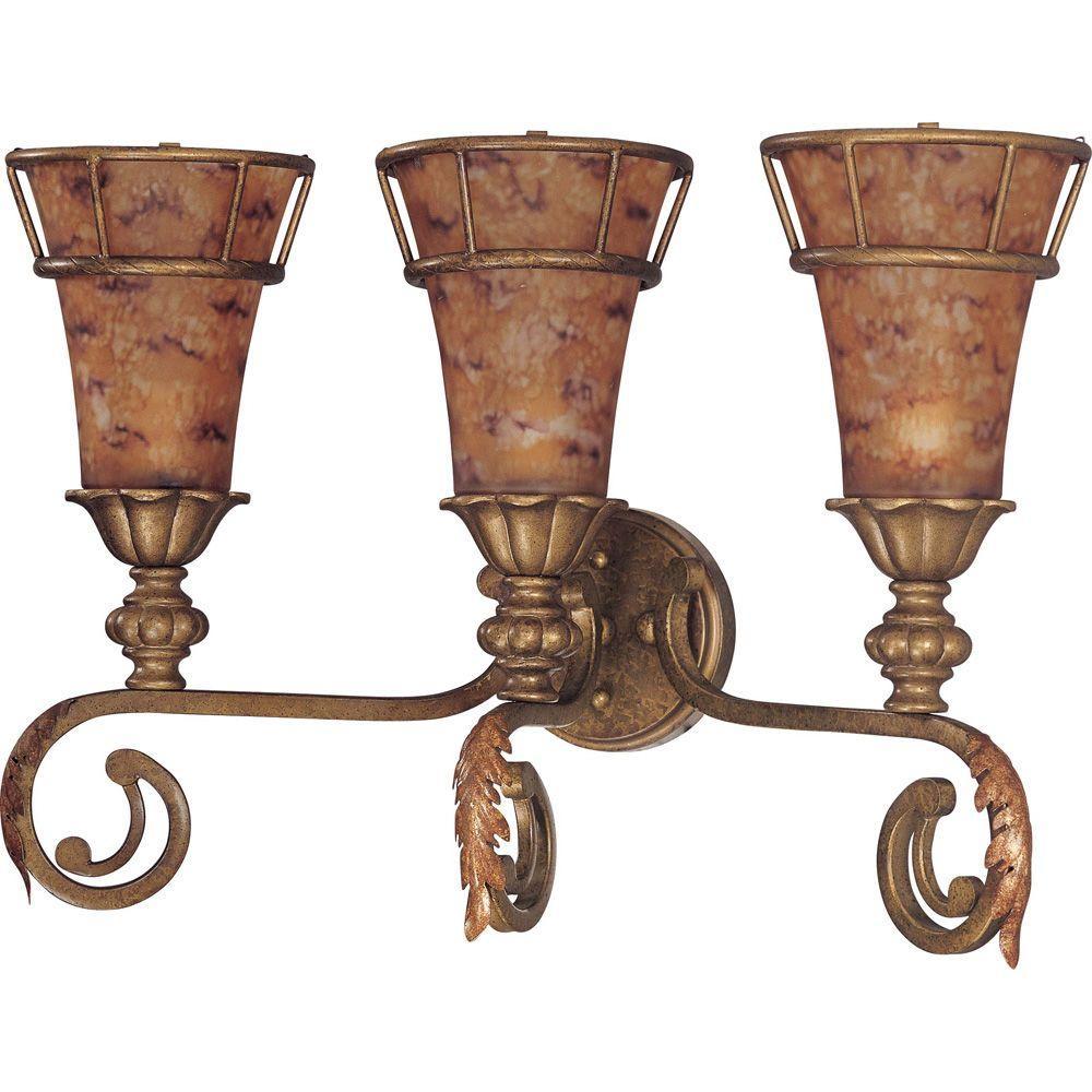 Glomar Marmount - 3 Light Vanity with Art Nouveau Glass Antique Gold-DISCONTINUED