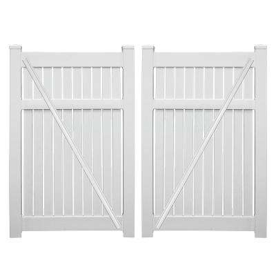 Huntington 7.6 ft. x 6 ft. White Vinyl Semi-Privacy Double Fence Gate Kit