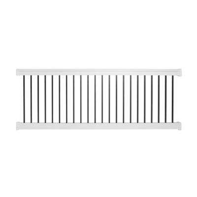 Vilano 36 in. x 96 in. Vinyl White with Square Black Aluminum Spindles Straight Railing Kit