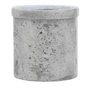 D Composite Round Med Rough Cement Pot With Lip In An Aged