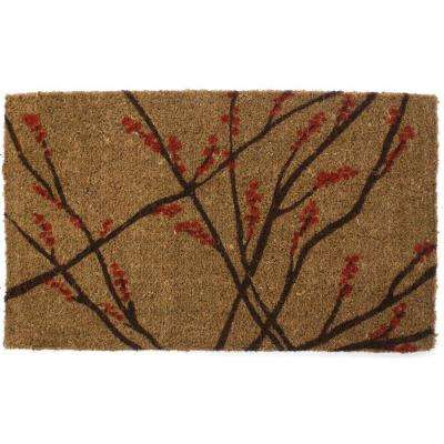 Winter Berries 18 in. x 30 in. Hand Woven Coir Door Mat