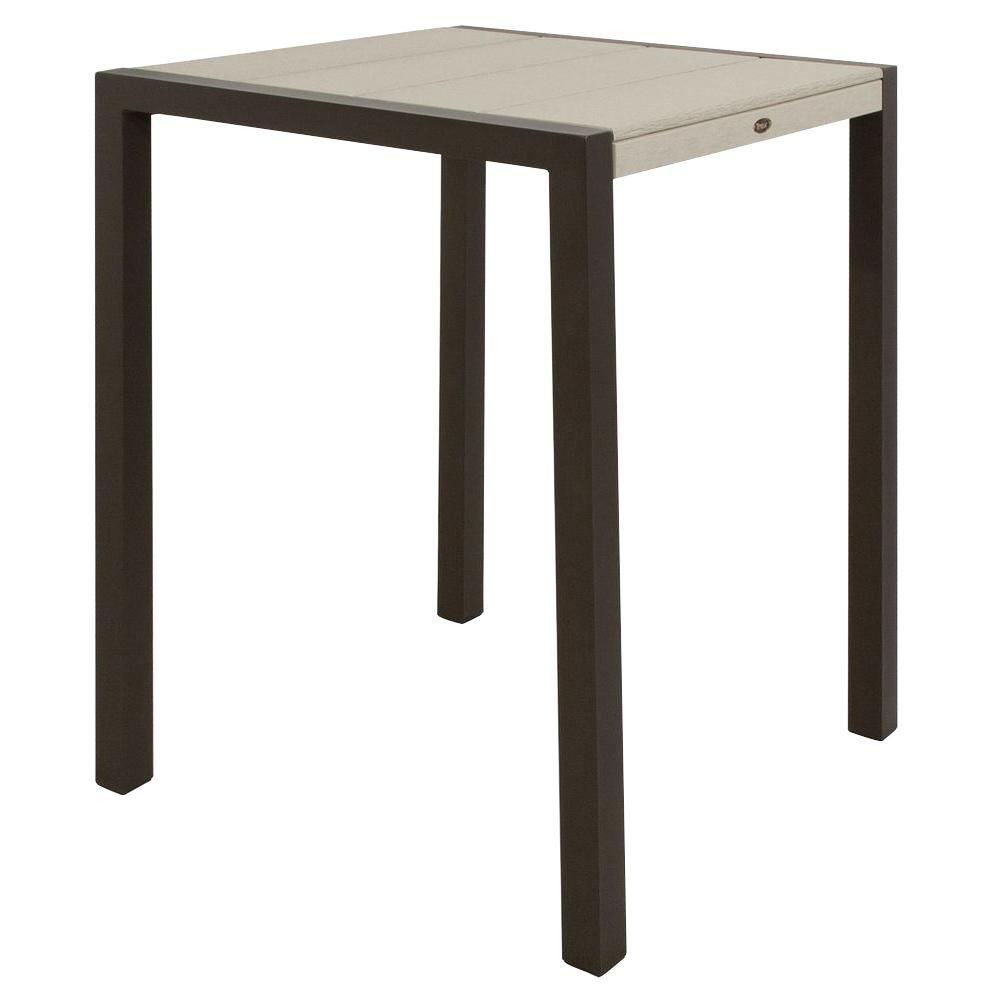 Surf City Textured Bronze 30 in. Patio Bar Table with Sand