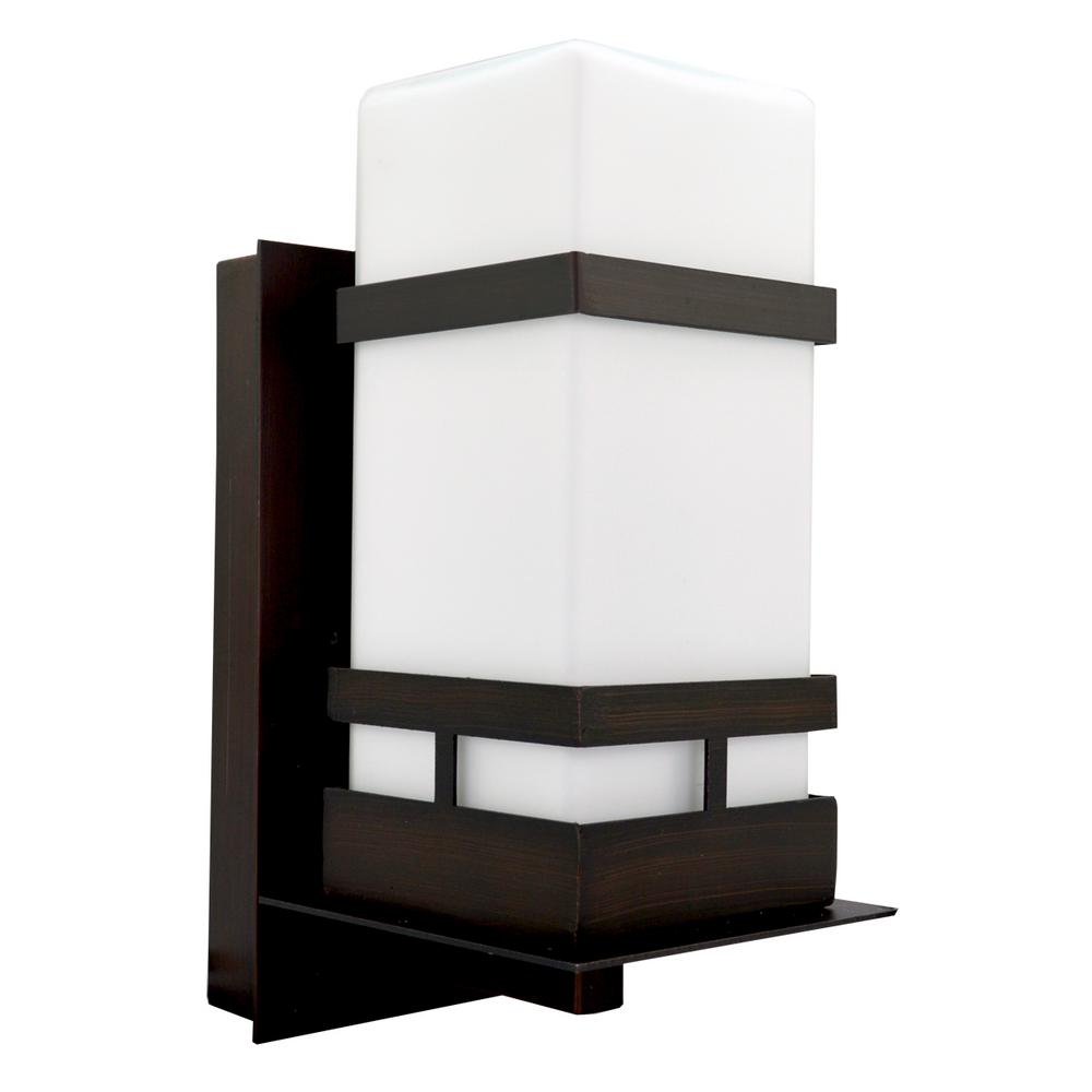 HomeSelects Oil Rubbed Bronze Outdoor Wall Mount Sconce with Opal Glass and 10-Watt LED Bulb