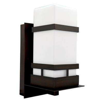 Oil Rubbed Bronze Outdoor Wall Mount Sconce with Opal Glass and 10-Watt LED Bulb