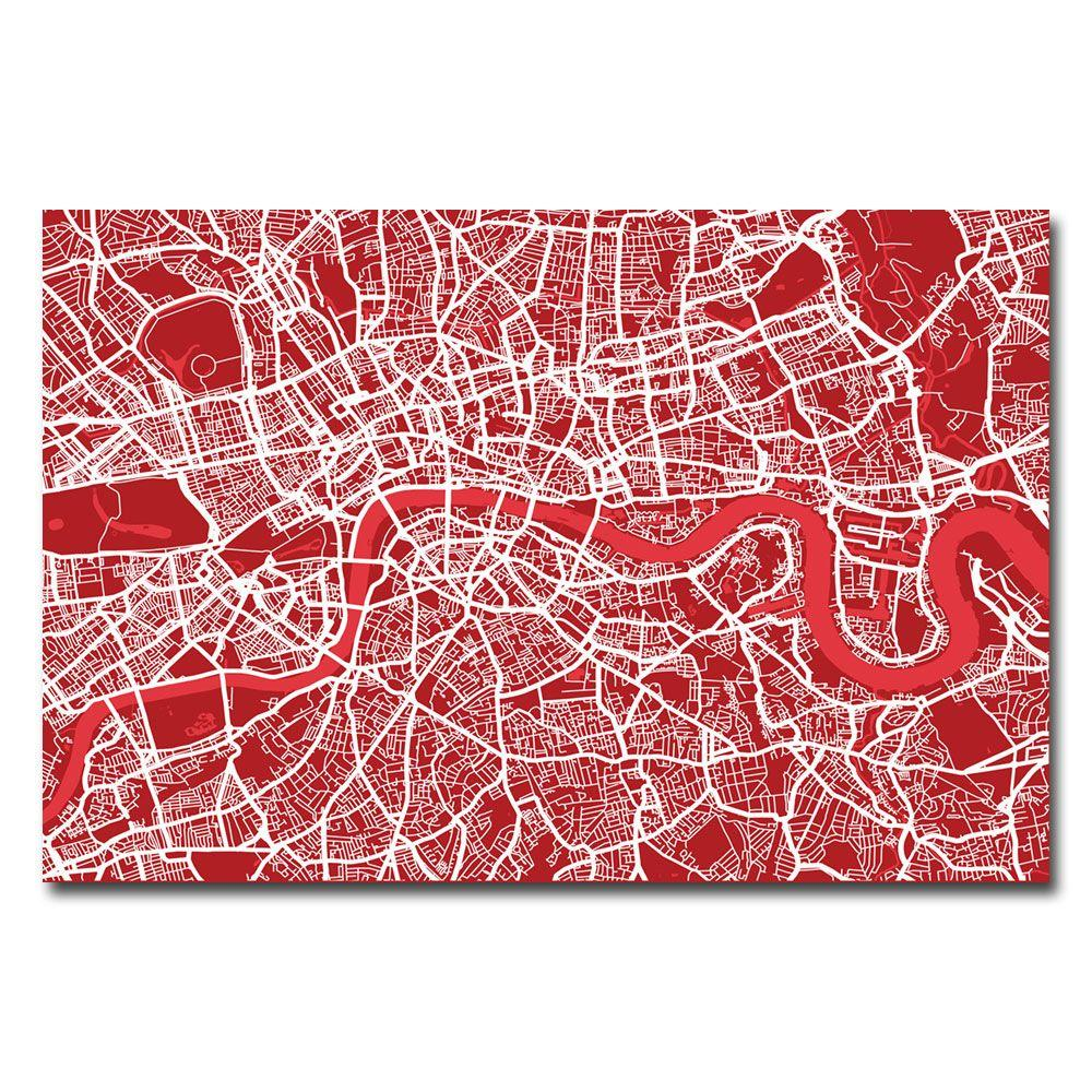 Trademark Fine Art 16 in. x 24 in. London Street Map IV Canvas Art