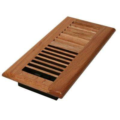 4 in. x 8 in. Wood Natural Oak Louvered Register