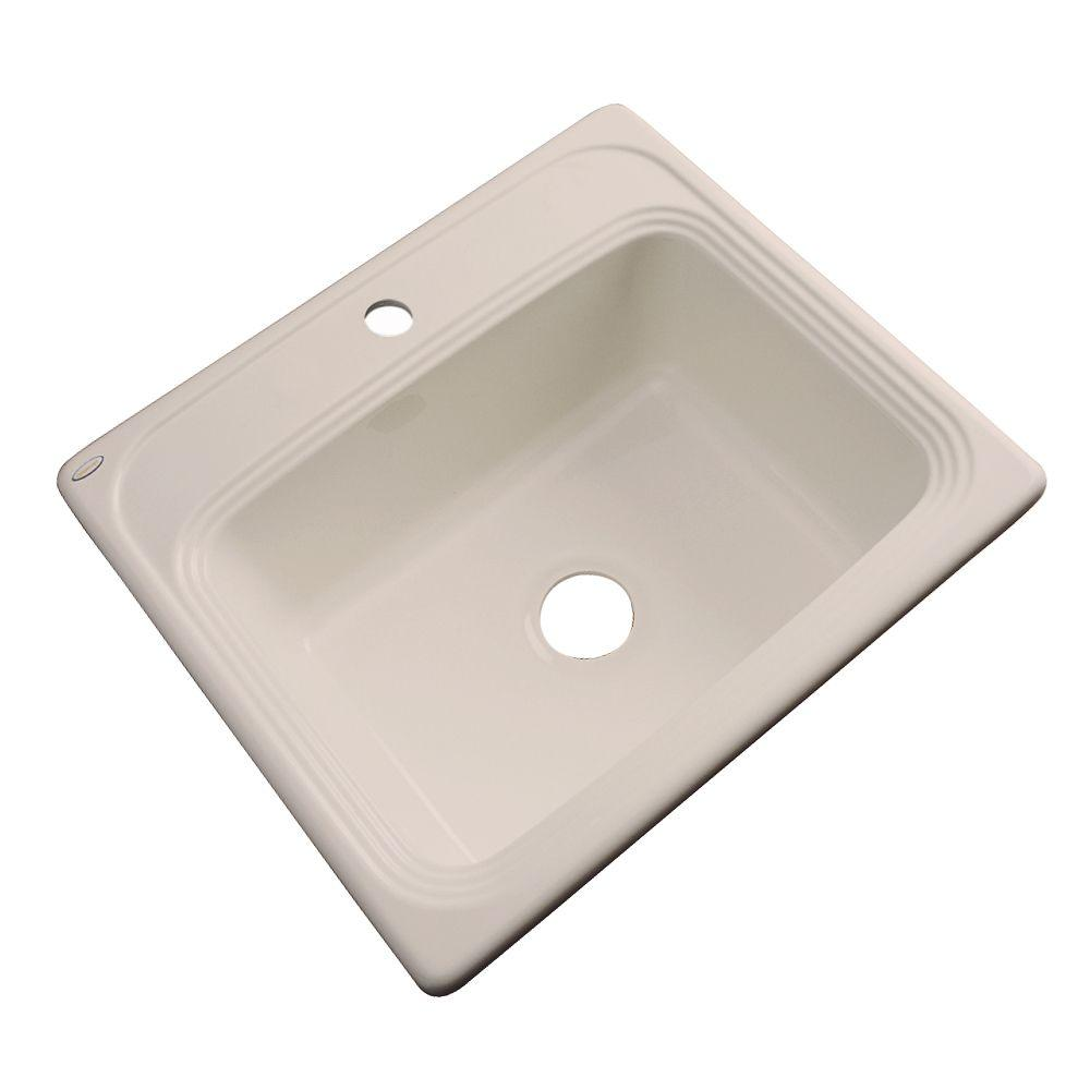 Thermocast Wellington Drop-In Acrylic 25 in. 1-Hole Single Basin Kitchen Sink in Candlelyght