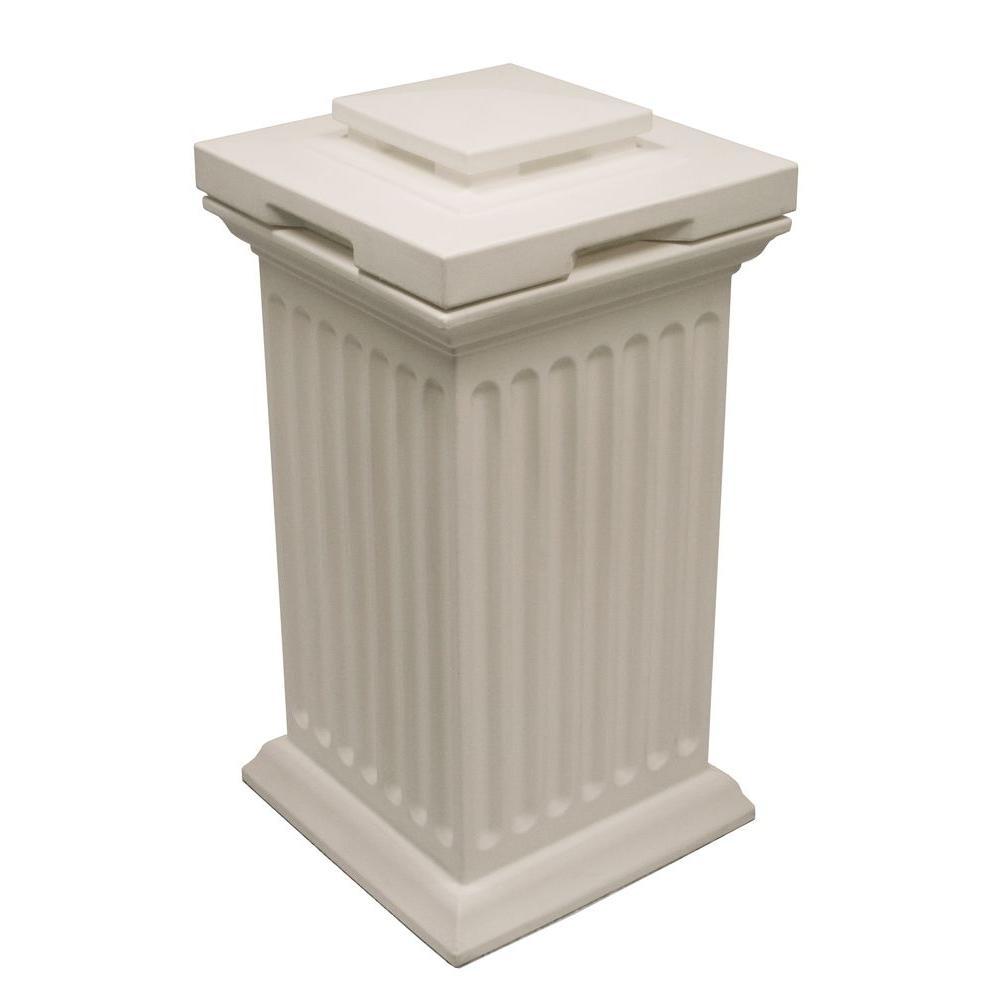 null Savannah 16 in. x 16 in. x 38 in. Polyethylene Column Waste and Storage Bin in White