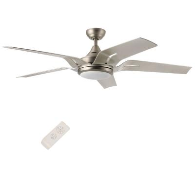 56 in. LED Indoor Brushed Nickel Ceiling Fan with Light Kit and Remote Control