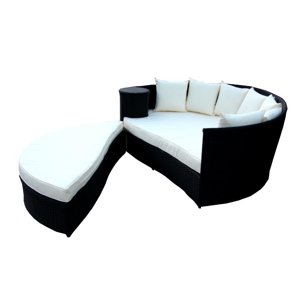 Black Wicker 2-Piece Patio Conversation Set with Cream Cushions