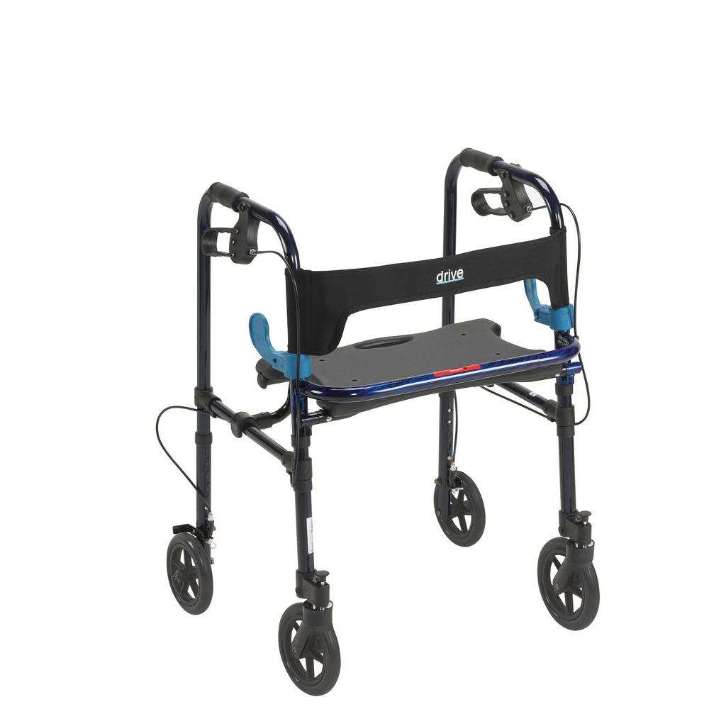 Drive Clever Lite 4-Wheel Rollator Walker with 8 in. Cast...