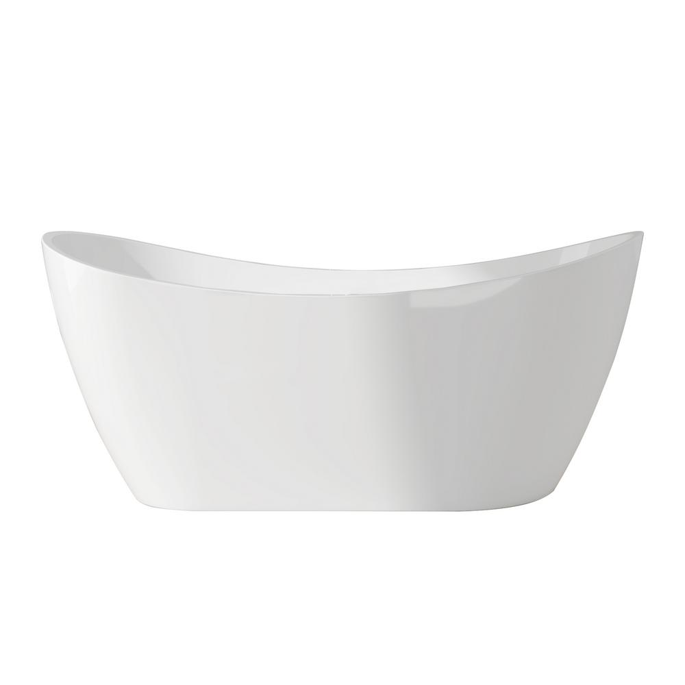 AKDY 67 in. Acrylic Double Slipper Flatbottom Non-Whirlpool Bathtub in Glossy White was $1049.0 now $699.99 (33.0% off)