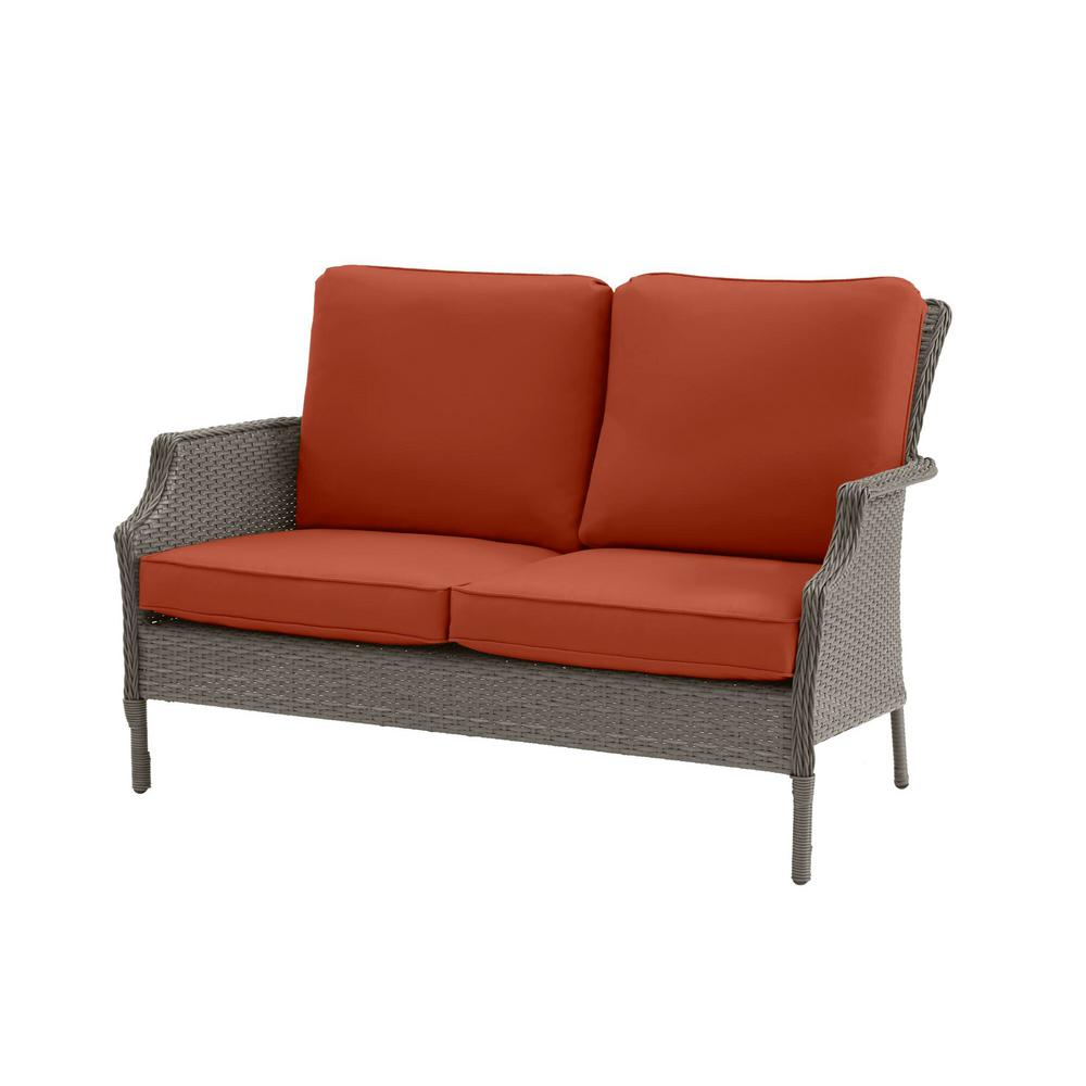 Hampton Bay Grayson Ash Gray Wicker Outdoor Patio Loveseat with CushionGuard Quarry Red Cushions was $249.0 now $199.2 (20.0% off)