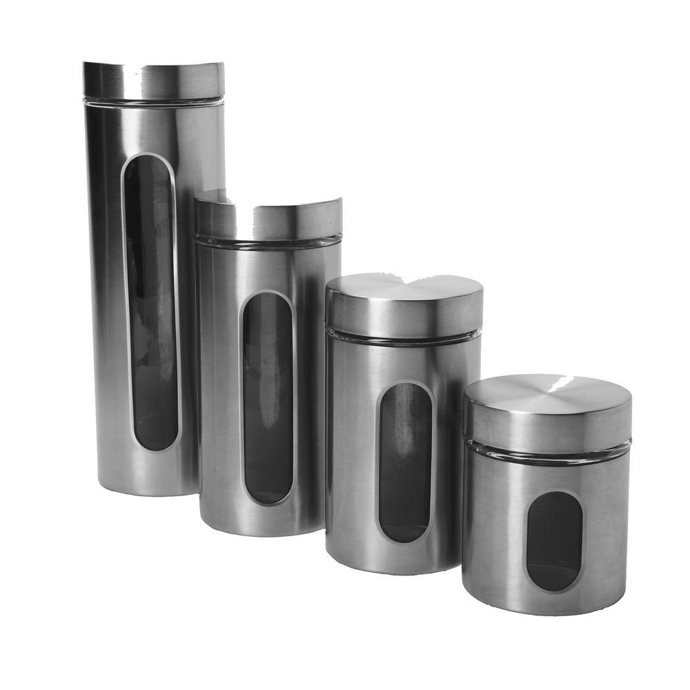 Anchor Hocking 4-Piece Palladian Window Set in Stainless Steel, Brushed Stainless Steel Narrow and uniform, these Stainless Steel jars will display your pasta, coffee or anything else that you want to keep fresher longer. What could make them even better. They're completely stackable. Save space with this decorative storage set. Color: Brushed Stainless Steel.