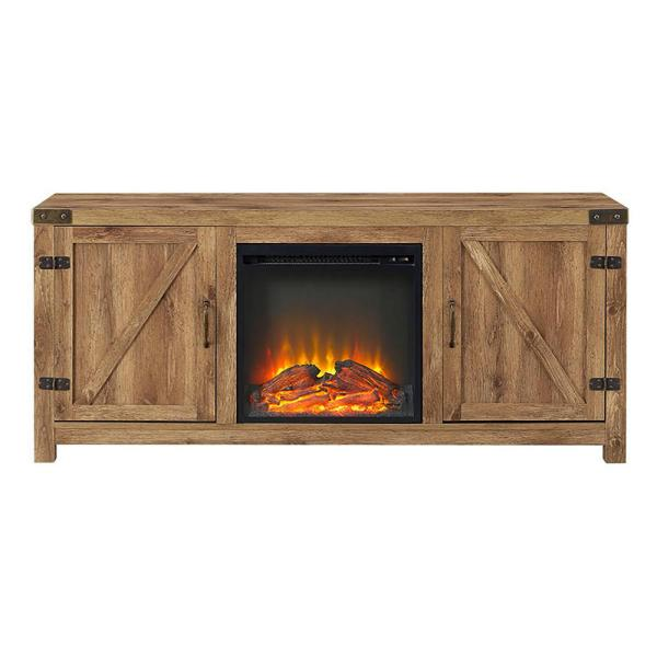 Walker Edison Furniture Company 58 in. Rustic Electric Fireplace TV Console in Barnwood Entertainment Center