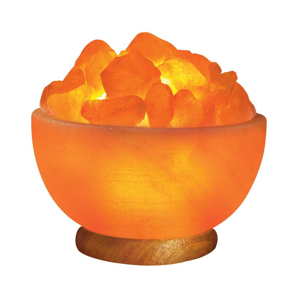 WBM Himalayan 6.75 in. Ionic Crystal Hand Carved Salt 7-9 lbs. Bowl Lamp