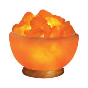WBM Himalayan 6.75 inch Ionic Crystal Hand Carved Salt 7-9 lbs. Bowl Lamp by WBM Himalayan