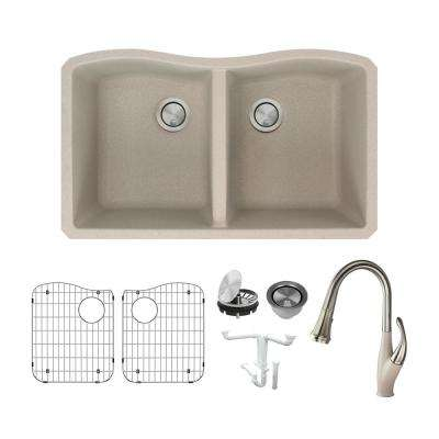 Aversa All-in-One Undermount Granite 32 in. Equal Double Bowl Kitchen Sink with Faucet in Cafe Latte