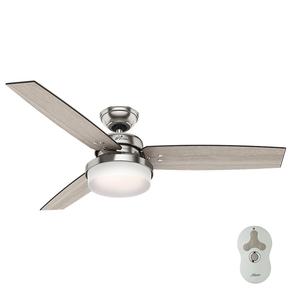 Hunter Sentinel 52 In Led Indoor Brushed Nickel Ceiling Fan With Light Kit And Universal Remote