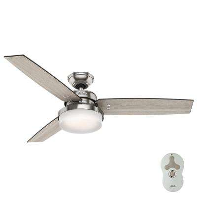 Sentinel 52 In LED Indoor Brushed Nickel Ceiling Fan With Light Kit And Universal Remote