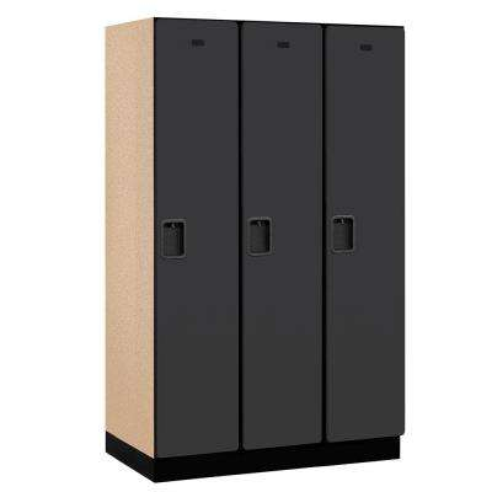 21000 Series 1-Tier Wood Extra Wide Designer Locker in Black - 15 in. W x 76 in. H x 21 in. D (Set of 3)