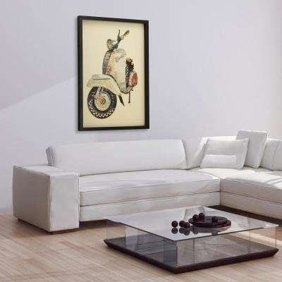 """25 in. x 33 in. """"Scooter"""" Dimensional Collage Framed Graphic Art Under Glass Wall Art"""