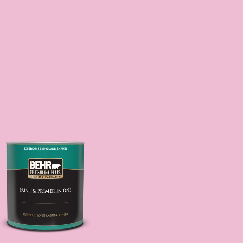 Behr Premium Plus 1 Qt 100b 4 Pink Chintz Semi Gloss Enamel Exterior Paint And Primer In One 505004 The Home Depot