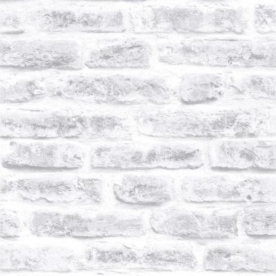 Strata Brick White Removable Wallpaper