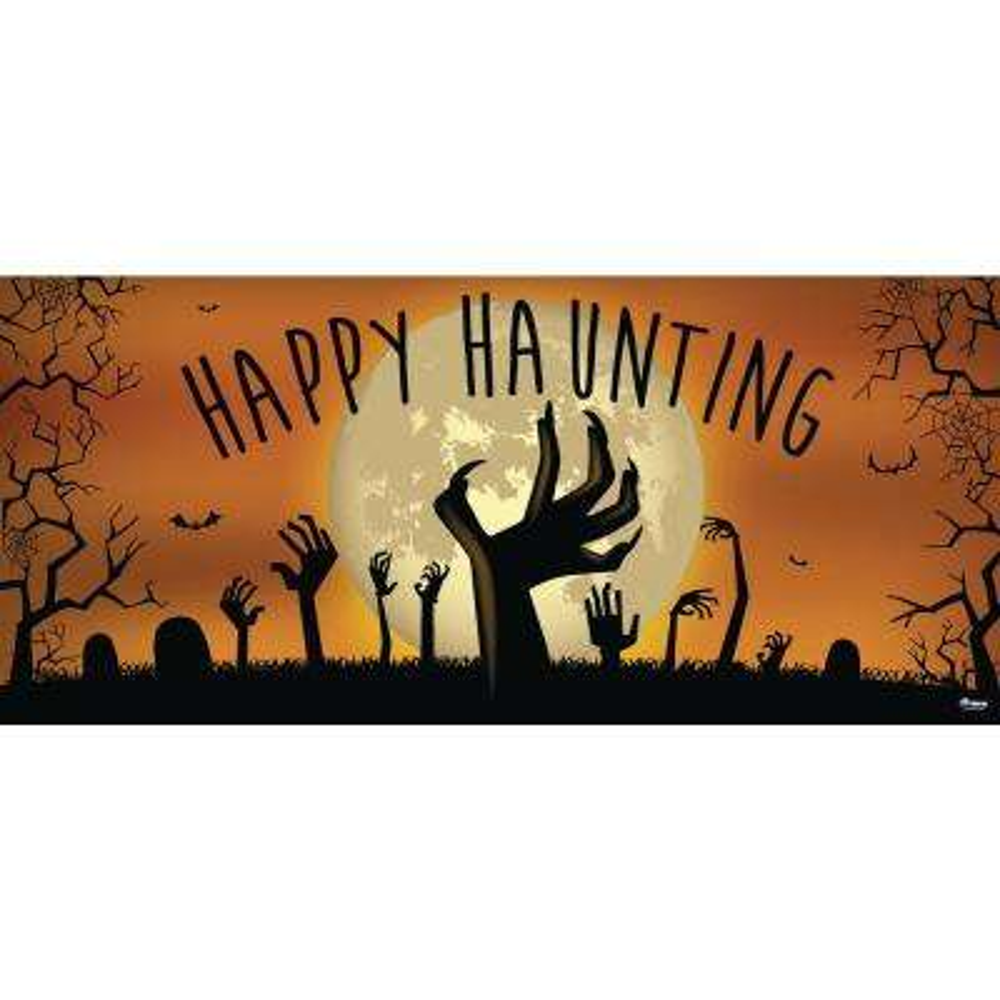 7 ft. x 16 ft. Happy Haunting Graveyard Zombie Hands Halloween Garage Door Decor Mural for Double Car Garage