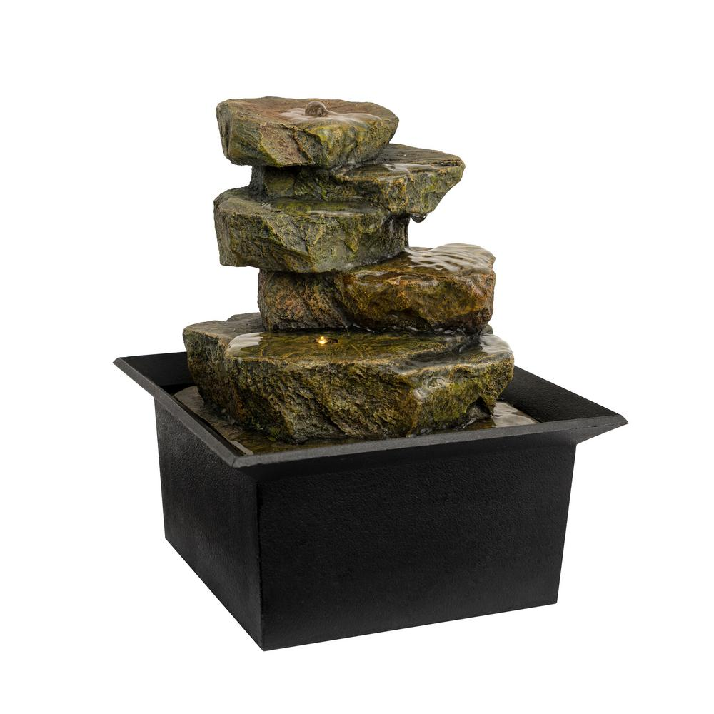 Pure Garden 8 In Indoor Cascading Rock Formation Waterfall Tabletop Water Fountain With Led Lights Hw155063 The Home Depot