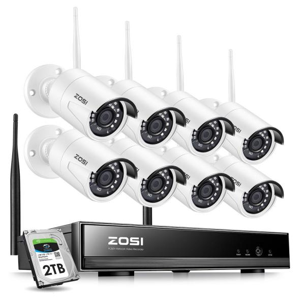 8-Channel 1080p 2TB NVR Security Camera System with 8 Wireless Bullet Cameras