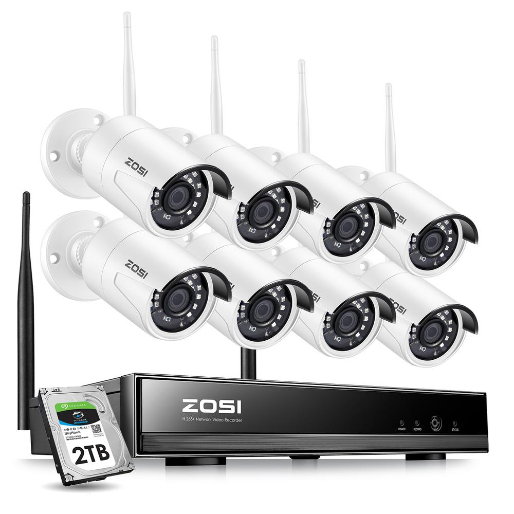 ZOSI 8-Channel 1080p 2TB NVR Security Camera System with 8 Wireless Bullet Cameras