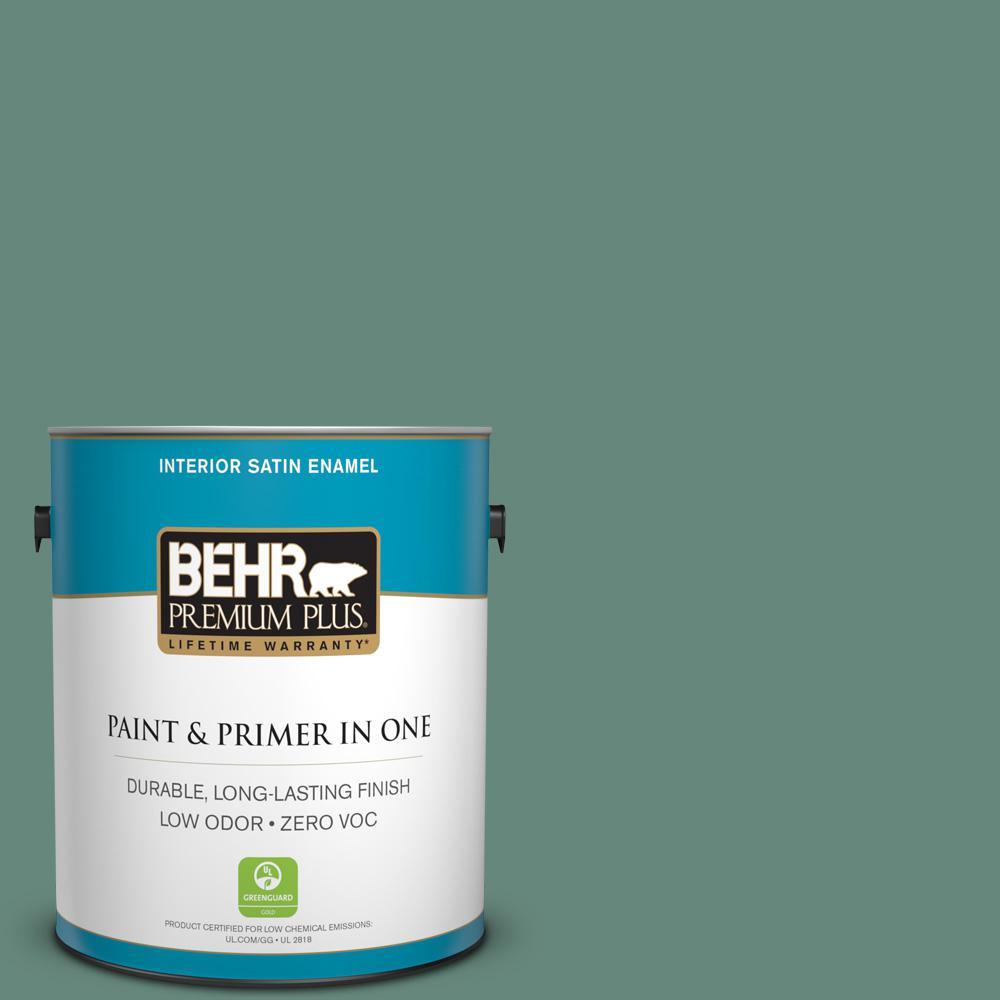 BEHR Premium Plus 1-gal. #470F-5 Garland Zero VOC Satin Enamel Interior Paint
