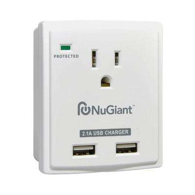 1-Outlet Surge Protector with 2 USB Ports, White