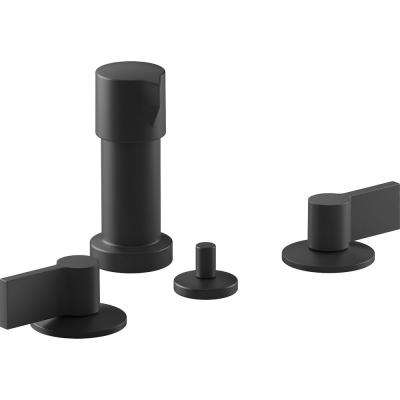 Components 2-Handle Widespread Bidet Faucet with Lever Handles in Matte Black