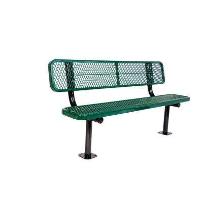 6 ft. Diamond Green Commercial Park Bench with Back Surface Mount