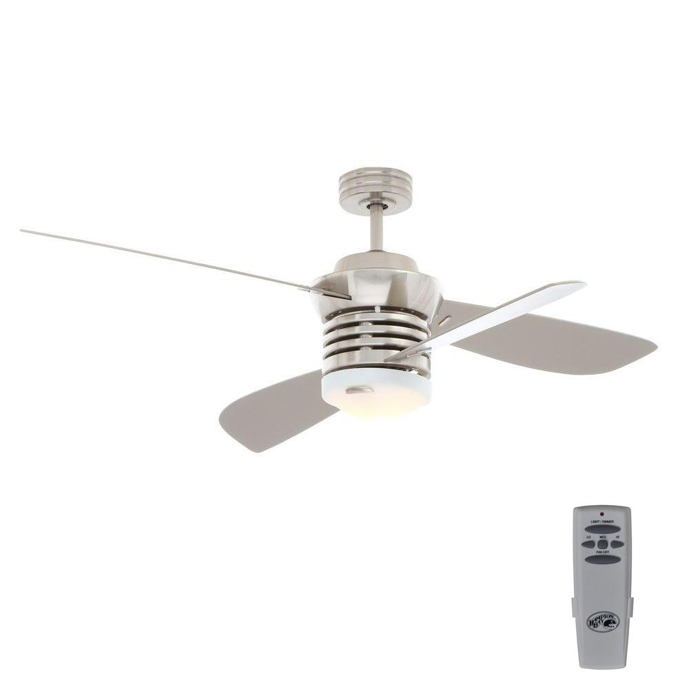 Hampton bay pilot 60 in and 52 in indoor brushed nickel ceiling indoor brushed nickel ceiling fan with aloadofball Image collections