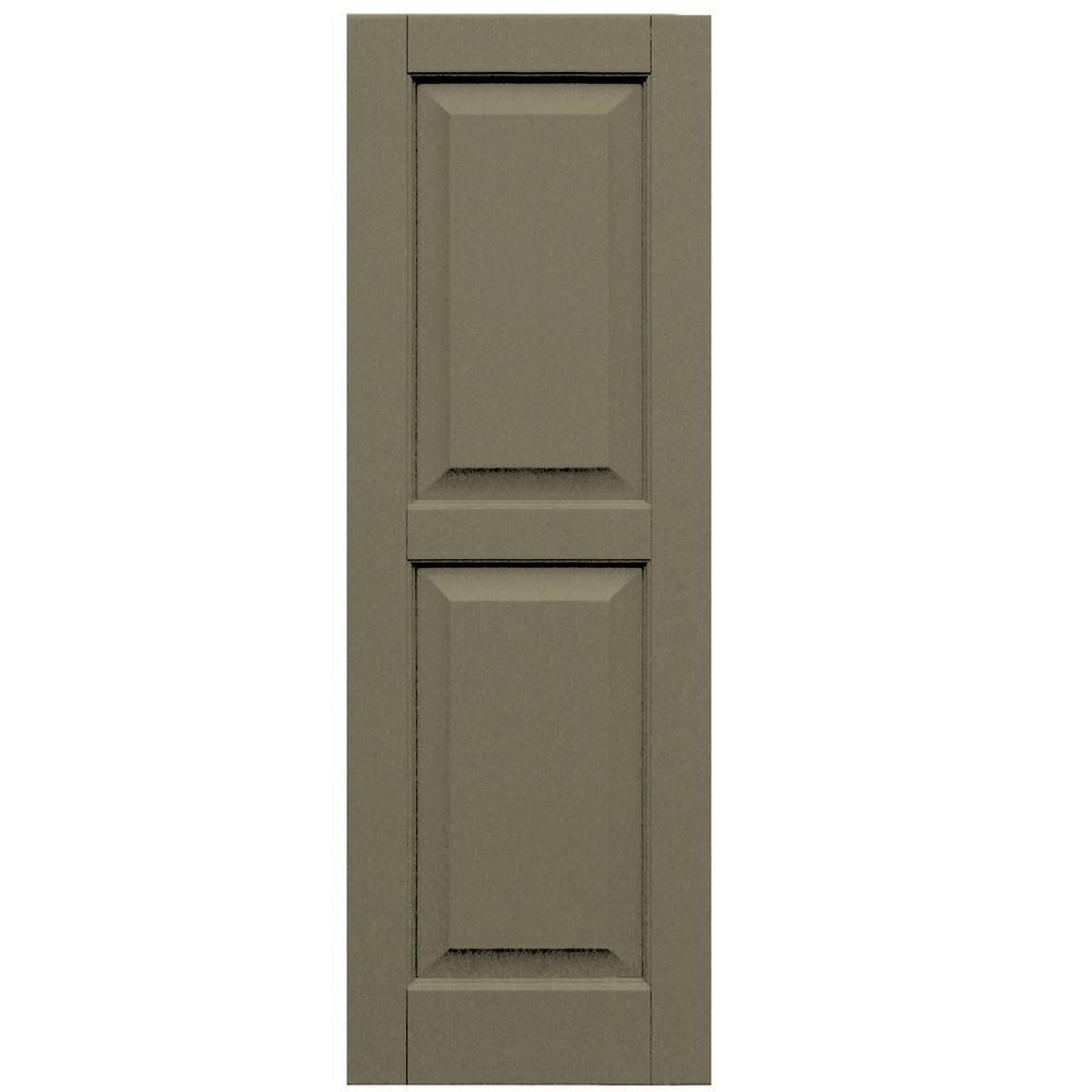 Winworks Wood Composite 15 in. x 44 in. Raised Panel Shutters Pair #660 Weathered Shingle