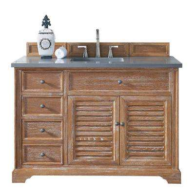Savannah 48 in. W Single Vanity in Driftwood with Quartz Vanity Top in Gray with White Basin