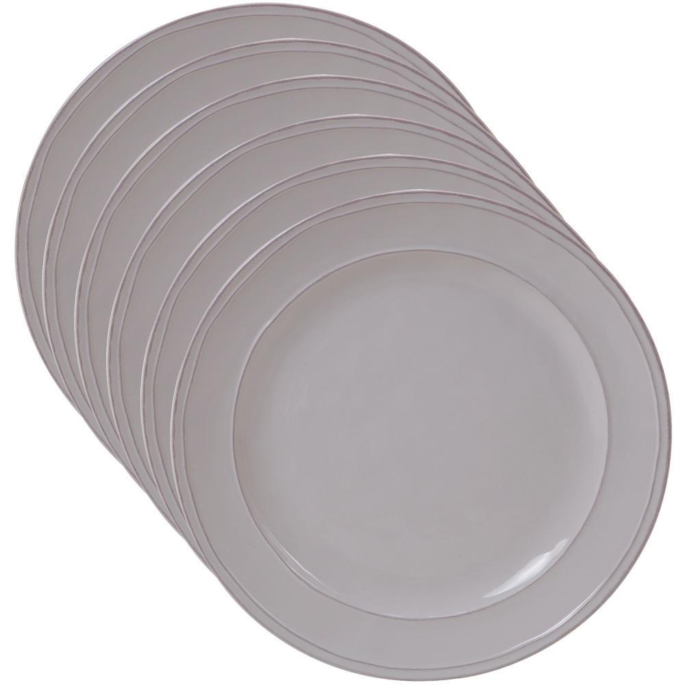 Orbit 6-Piece Traditional Cream Ceramic 9 in. Salad/Dessert Plate Set (Service for 6)