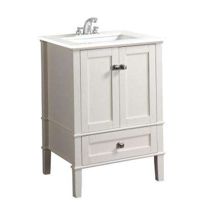 Chelsea 24 in. Bath Vanity in Soft White with Quartz Marble Vanity Top in White with White Basin