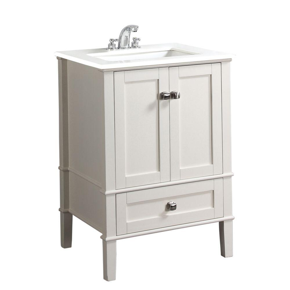 Simpli Home Chelsea 24 in. Vanity in Soft White with Quartz Marble ...