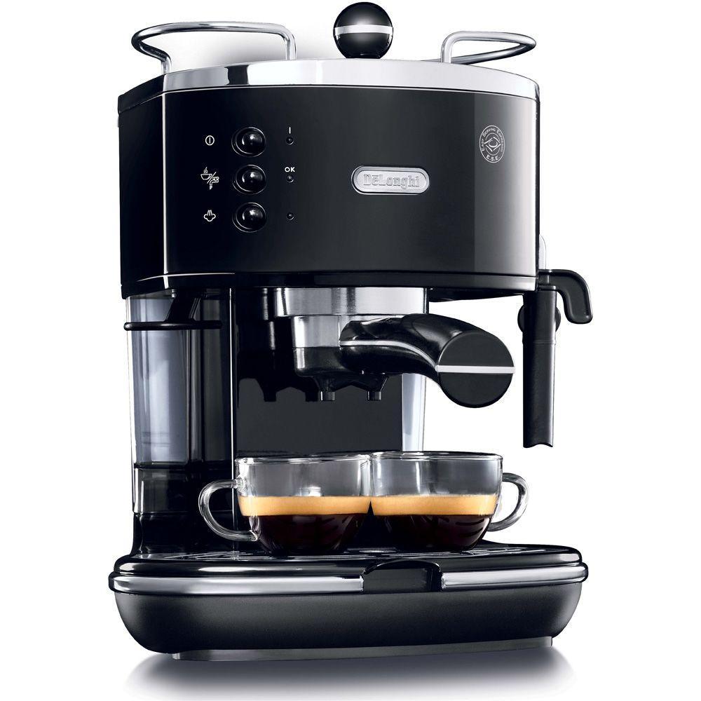 Icona Espresso 6-Cup Black Espresso Machine and Cappuccino Maker